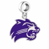 Western Carolina Catamounts Silver Logo and School Color Drop Charm