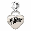 Western Illinois Engraved Heart Dangle Charm