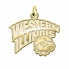 Western Illinois Leathernecks 14K Yellow Gold Natural Finish Cut Out Logo Charm