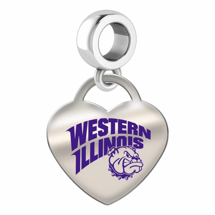Western Illinois Leathernecks Color Heart Dangle