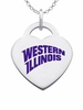 Western Illinois Logo Heart Pendant With Color