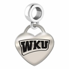 Western Kentucky Hilltoppers  Engraved Heart Dangle Charm