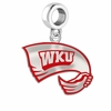 Western Kentucky Hilltoppers Silver Logo and School Color Drop Charm