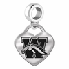 Western Michigan Engraved Heart Dangle Charm
