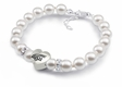 White Pearl Bracelets with Heart