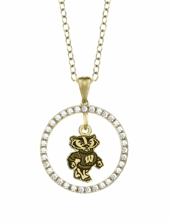 Wisconsin Badgers Gold and Diamond Circle Pendant