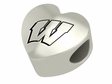 Wisconsin Badgers Heart Shape Bead