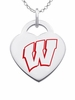 Wisconsin Badgers Logo Heart Pendant With Color