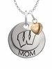 Wisconsin Badgers MOM Necklace with Heart Charm