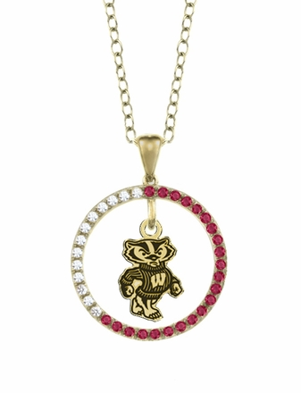 Wisconsin Badgers Ruby and Diamond Necklace