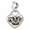 Wisconsin Engraved Heart Dangle Charm