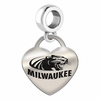 Wisconsin Milwaukee Engraved Heart Dangle Charm