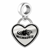 Wisconsin Milwaukee Panthers Border Heart Dangle Charm
