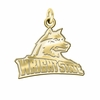 Wright State University 14K Yellow Gold Natural Finish Cut Out Logo Charm