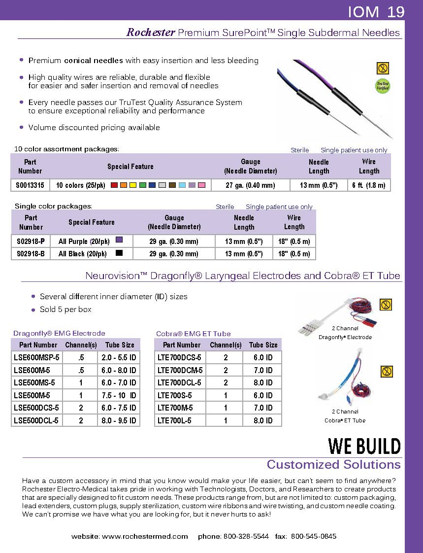 SurePoint™ Subdermal Needle - Conical, 29ga, 0.5m Purple Wire, 20/Pkg