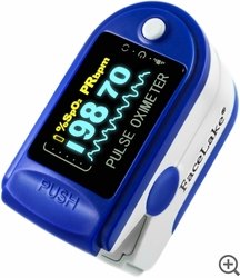 FL350 Fingertip Pulse Oximeter - Blood Oxygen Monitor (Blue) - with Case