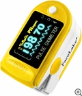 CMS-50D Fingertip Pulse Oximeter - Blood Oxygen Monitor (Yellow) - with Case
