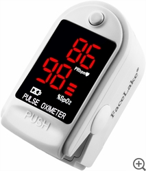 CMS-50DL Fingertip Pulse Oximeter - Blood Oxygen Monitor (White) - with Case
