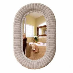 19x28 Oval Wicker Wall Mirror