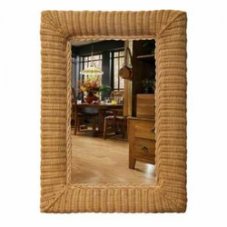 22x32 Oblong Wicker Wall Mirror
