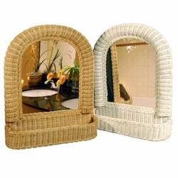 Arch Top Wicker Mirror w/Shelf