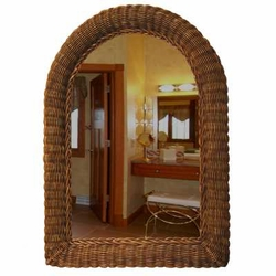 Arch Top Wicker Wall Mirror