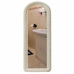 Arched Wicker Dressing Mirror
