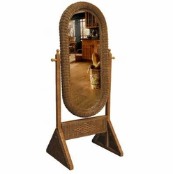 Cheval Wicker Floor Dressing Mirror