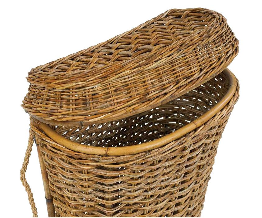 Upright Rattan Laundry Hamper With Lid