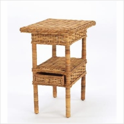 French Country Rattan Side Table