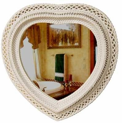 Heart Shaped Wicker Mirror