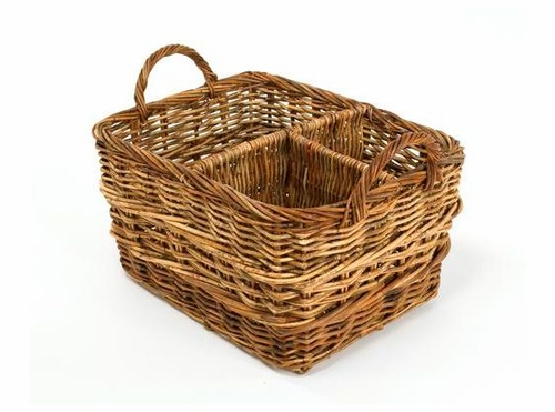 Wicker Basket With Sections : Organizer basket with separate sections rectangular