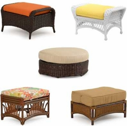 Outdoor Wicker Ottomans