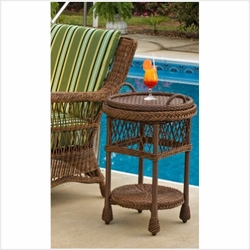 Outdoor Wicker Serving Table w/Tray