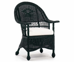 Paddle Arm Wicker Chair