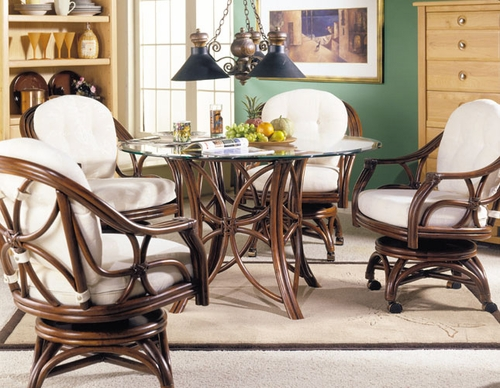 5500d5 Riviera Rattan Dining Set W Caster Chairs