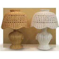 Scalloped Rattan Wicker Table Lamp