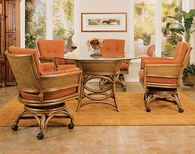 Td taipei rattan wicker dining set w caster chairs