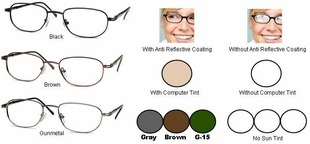 Single Vision Readers with Polycarbonate Aspheric Lenses Style #18