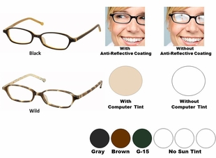 Single Vision Readers with Polycarbonate Aspheric Lenses Style #21
