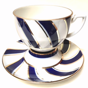 Blue and Gold Stripe Cup and Saucer