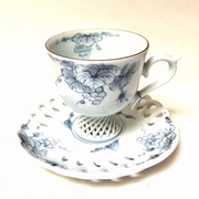 Blue and White Cup and Saucer