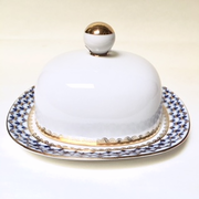 Cobalt Net Bone China Butter Dish