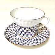 Cobalt Net Bone China Cup and Saucer