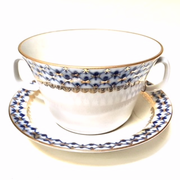 Cobalt Net Bone China Soup Cup