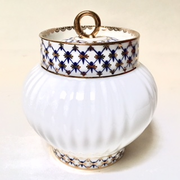 Cobalt Net Bone China Sugar Bowl with Lid