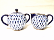 Cobalt Net Creamer and Sugar Bowl Set