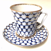 Cobalt Net Mug and Saucer