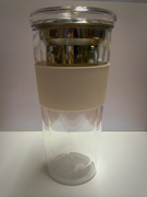 Double Wall Glass Cup with Lid, Basket and Grip