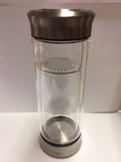 Double Wall Glass Tea Bottle with Built-in Glass Strainer